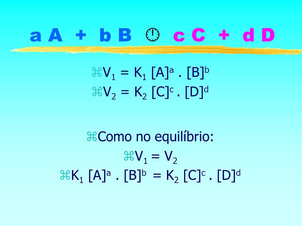 a A + b B  c C + d D V1 = K1 [A]a . [B]b V2 = K2 [C]c . [D]d
